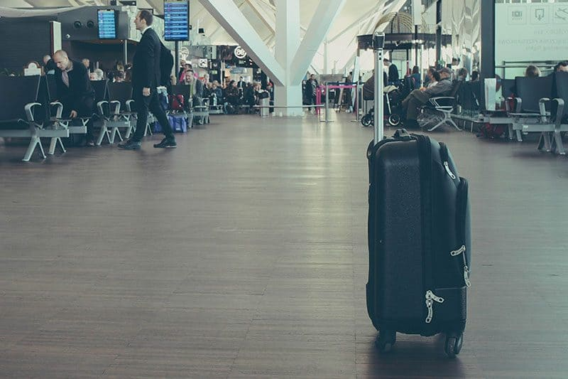 lone suitcase in airport